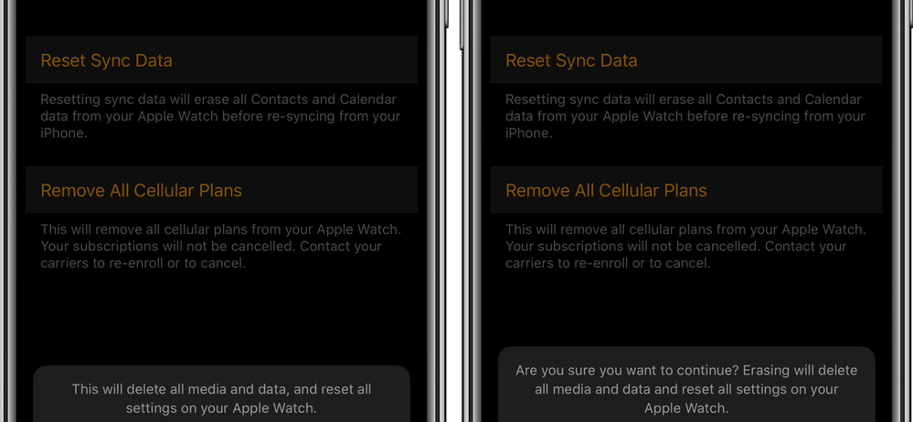 how to reset apple watch and keep cellular plan